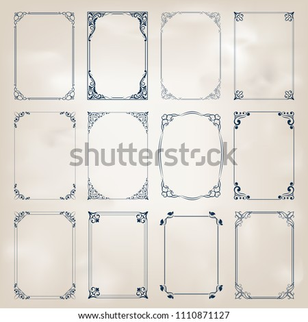 set of decorative frame in vintage style with beautiful filigree and retro border for premium invitation cards or luxury certificate on ancient background, ornament vector #1110871127