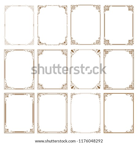 set of decorative frame in vintage style with beautiful filigree and retro border for premium invitation or wedding card on ancient background, luxury postcard, ornament vector