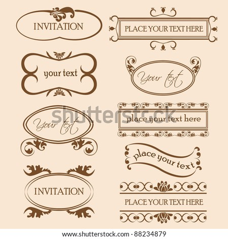 set of decorative frame ornaments for text in vector - stock vector
