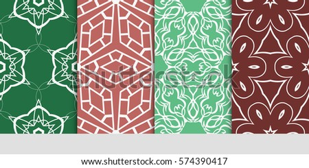 set of decorative geometric line pattern. linear floral and geometry seamless ornament. vector illustration. for design, wallpaper, fabric, invitation, brochure