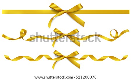 Set of decorative golden bows with horizontal gold ribbons isolated on white. Vector yellow gift bow with curled ribbon for page decor. New year holiday decorations #521200078