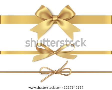 Set of decorative golden bows with horizontal yellow ribbon isolated on white background. Vector illustration #1217942917