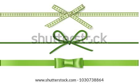 set of decorative green bows