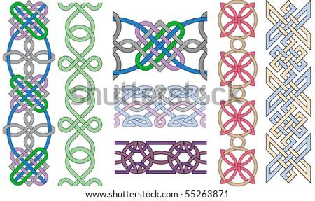 Set of decorative knots on a white background