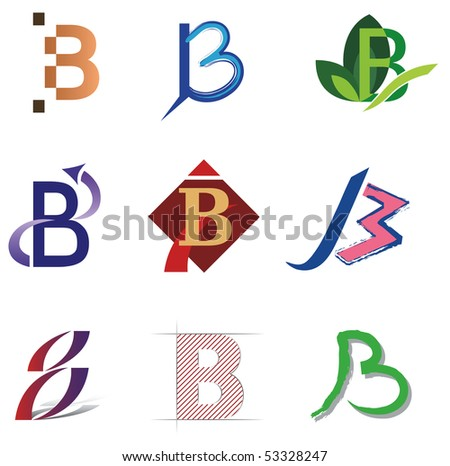 Set of Decorative Letter B Icons and Elements