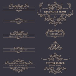 Set of decorative monograms, borders and frames. Template for cards, invitations, menus, logos, labels, stickers. Graphic design pages, business sign, boutiques, cafes, hotels.