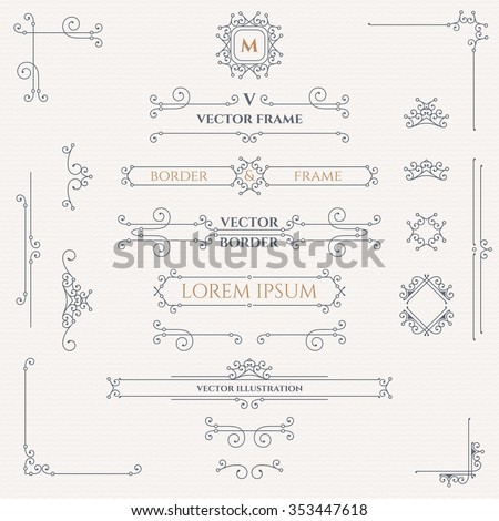 Set of decorative monograms, borders, frames, corners.  Design collection for  labels, invitations,  logos, banners, posters, badges, sign, stickers, cards. Graphic design page.
