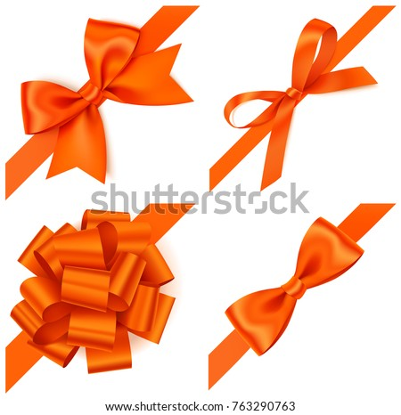 Set of decorative orange bows with diagonally orange ribbon on the corner. Vector orange bow isolated on white. Autumn design elements
