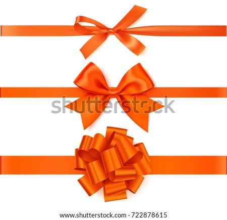 Set of decorative orange bows with horizontal orange ribbons isolated on white background. Beautiful autumn bow with ribbon. Vector illustration
