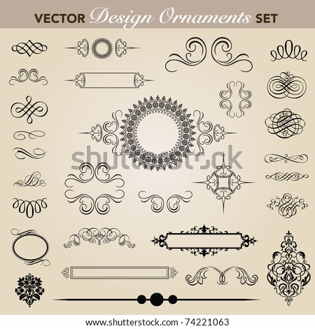 Set of decorative ornaments. Easy to edit. Perfect for invitations or announcements.