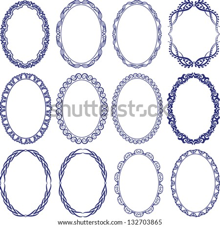 set of decorative oval borders