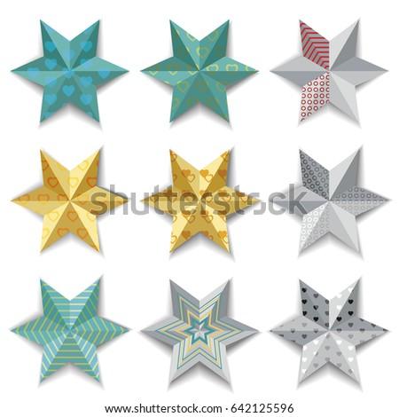 set of decorative paper stars