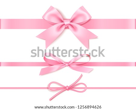 Set of decorative pink bow with horizontal pink ribbon for gift decor. Realistic vector bow and ribbon isolated on white. Vector illustration