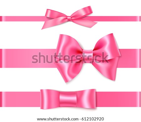 Set of decorative pink bows with horizontal ribbon isolated on white. Vector rose bow