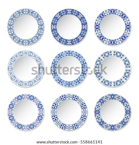 set of decorative plates with a