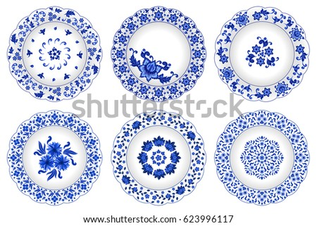 Set of decorative porcelain plates ornate with traditional blue floral pattern  in Russian style Gzhel with oriental Chinese elements or wild flowers with leaves. Vector illustration, isolated object.
