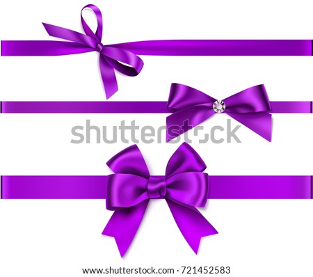 Set of decorative purple bow with horizontal purple ribbon isolated on white. Vector bow and ribbon for gift pack and page decor