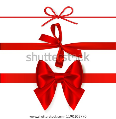 Set of decorative red bows with horizontal red ribbon isolated on white background. Vector illustration