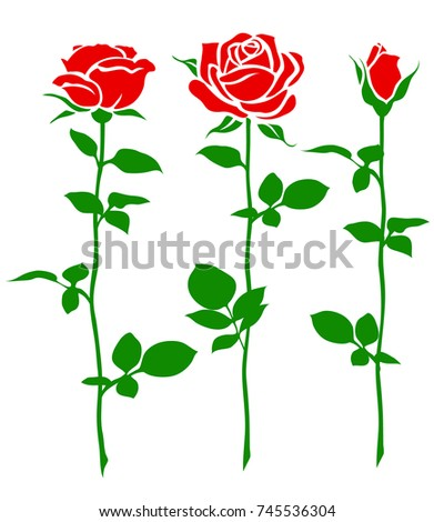 Set of decorative rose with long stem. Vector flower silhouette