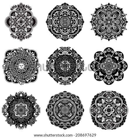 set of decorative rosette
