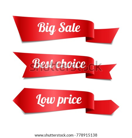 Set of decorative sale red ribbon banners with text, vector illustration