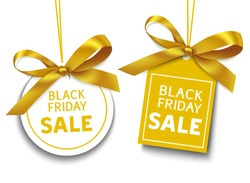 Set of decorative Sale tags with golden bow isolated on white background for Black Friday Sale decor. Vector labels with text