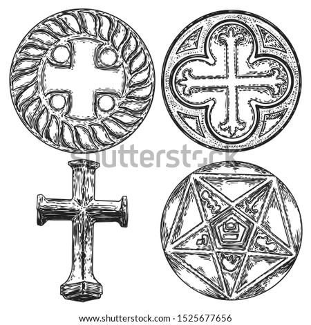 Set of decorative symbols. Circular decorative Christian religion cross design and five pointed star carved in marble stone. Masonic symbol. Vector.