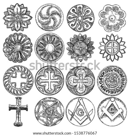 Set of decorative symbols. Circular decorative Christian religion cross, five pointed star carved in marble stone. Square and Compass, Masonic. Circle ornament of carved flowers. Vector.