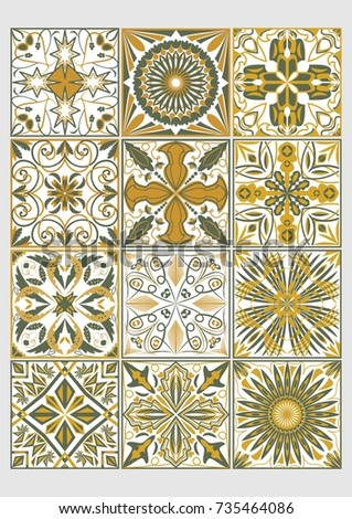 set of decorative tiles in