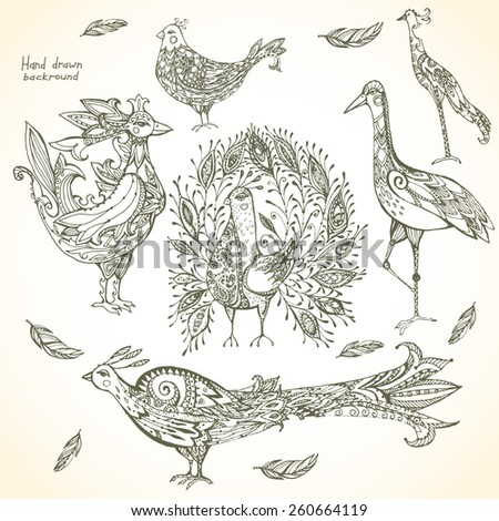 Set of decorative tribal birds