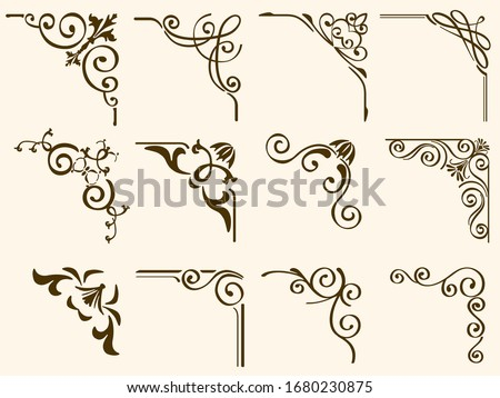 Set Of decorative Vector Corner Framers Isolated On A White Background. Foto stock ©