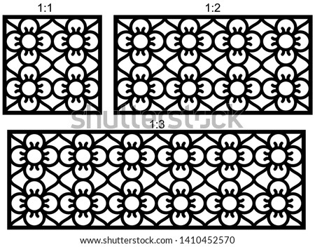 Set of decorative vector panels for laser cutting, Laser cutting pattern for interior. Ratio 1:1, 1:2, 1:3.