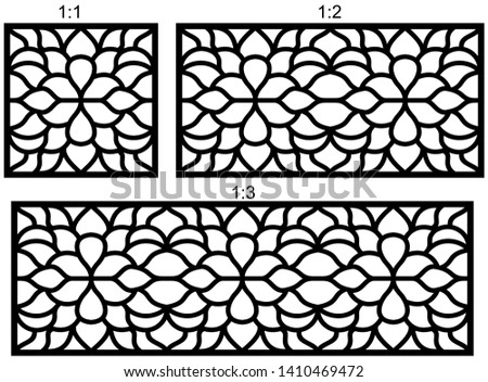 Set of decorative vector panels for laser cutting, Laser cutting pattern for interior. Ratio 1:1, 1:2, 1:3