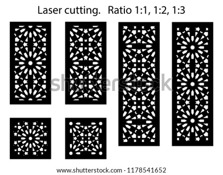 Set of decorative vector panels for laser cutting. Template for interior partition in arabesque style. Ratio 1:1,1:2,1:3