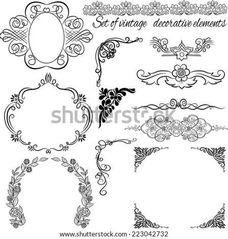 Set of decorative vintage elements.