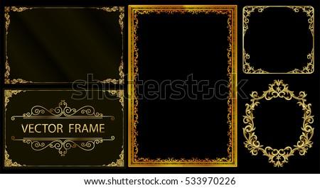 Set of Decorative vintage frames and borders set,Gold photo frame with corner thailand line floral for picture, Vector design decoration pattern style. border design is pattern Thai style
