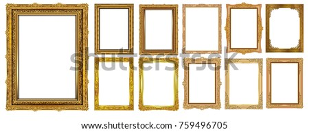 Set of Decorative vintage frames and borders set,Gold photo frame with corner Thailand line floral for picture, Vector design decoration pattern style. border design is pattern Thai art style #759496705