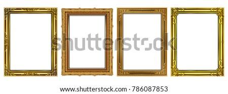 stock-vector-set-of-decorative-vintage-frames-and-borders-set-gold-photo-frame-with-corner-thailand-line-floral