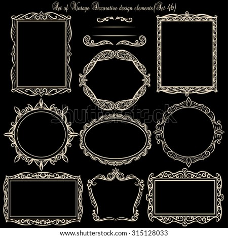 Set of Decorative Vintage frames on blackboard.