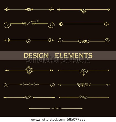 Set of decorative vintage golden dividers.Vector elements for your design on black background. Calligraphic design elements and page decoration