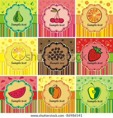 set of decorative vintage template. Fruit label.  vector illustration