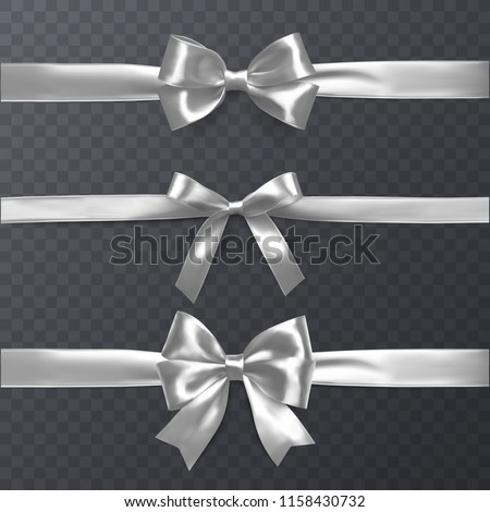 Set of decorative white bows with horizontal ribbon isolated on transparent background, bow and ribbon for gift decor, vector illustration