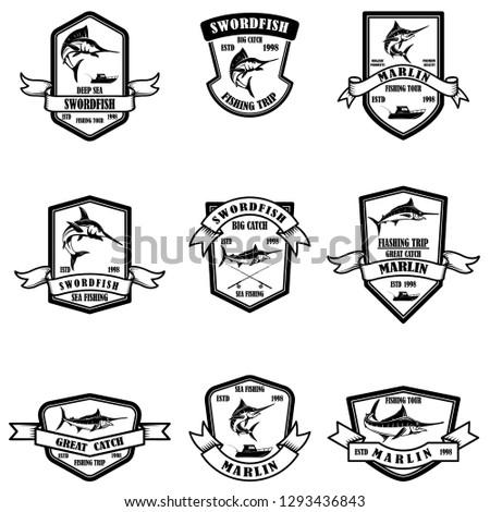 Set of deep sea marlin fishing emblems. Design element for logo, label, emblem, sign. Vector illustration