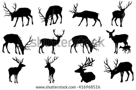 set of deers vector silhouette