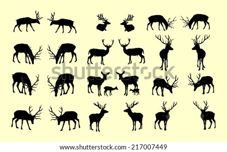 set of deers vector silhouette