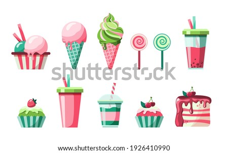 Set of delicious fruit sweets and desserts. Ice cream, bubble tea, milk shake, soda, lollypop, cupcake and piece of cherry cake. Isolated vector illustration for fast food, pastry shop, confectionery