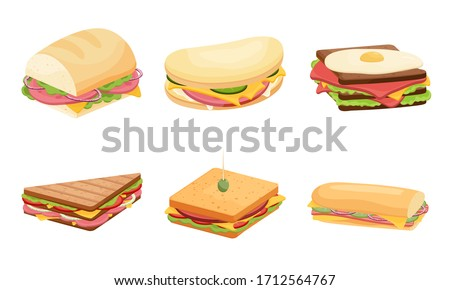 Set of delicious juicy sandwiches filled with vegetables, cheese, meat, bacon. Vector illustration in flat cartoon style
