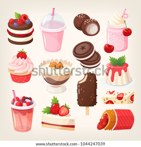 Set of delicious sweet desserts made of chocolate, strawberry and forest fruit. Glazed, stuffed and filled pastry in a confectionary or coffee shop cafe. Isolated vector images