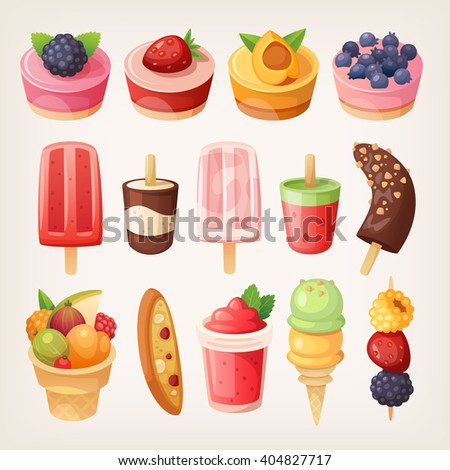 Set of delicious sweets and desserts with fruits. Isolated vector objects.