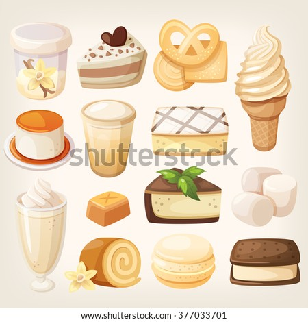 Set of delicious sweets and desserts with vanilla flavor for valentine day